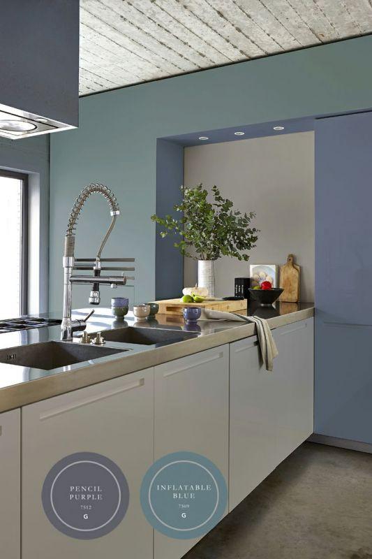 Keuken blauw grijs inch blauw grijs en wit crystay glazen tegels voor badkamer elementa biella - Meubilair amerikaanse keuken ...
